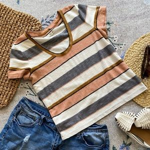 XS madewell striped top tee knit T shirt tee top